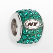 LogoArt New York Jets Sterling Silver Crystal Logo Bead - Made with Swarovski Elements