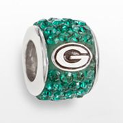 LogoArt Green Bay Packers Sterling Silver Crystal Logo Bead - Made with Swarovski Elements