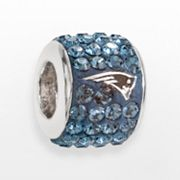 LogoArt New England Patriots Sterling Silver Crystal Logo Bead - Made with Swarovski Elements
