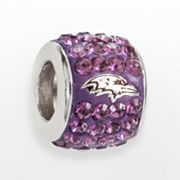 LogoArt Baltimore Ravens Sterling Silver Crystal Logo Bead - Made with Swarovski Elements