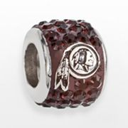 LogoArt Washington Redskins Sterling Silver Crystal Logo Bead - Made with Swarovski Elements
