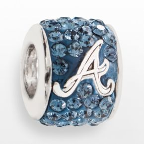 LogoArt Atlanta Braves Sterling Silver Crystal Logo Bead - Made with Swarovski Crystals