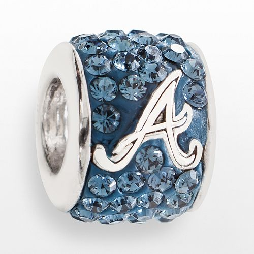 LogoArt Atlanta Braves Sterling Silver Crystal Logo Bead - Made with Swarovski Crystals