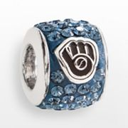 LogoArt Milwaukee Brewers Sterling Silver Crystal Logo Bead - Made with Swarovski Elements