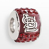 LogoArt St. Louis Cardinals Sterling Silver Crystal Logo Bead - Made with Swarovski Crystals