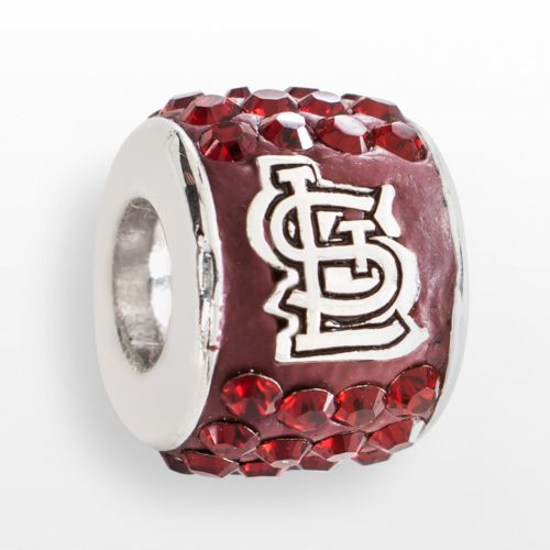 LogoArt St. Louis Cardinals Sterling Silver Crystal Logo Bead - Made with Swarovski Elements