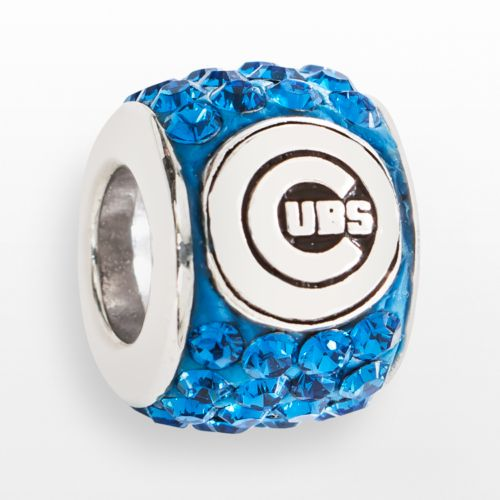 LogoArt Chicago Cubs Sterling Silver Crystal Logo Bead - Made with Swarovski Elements