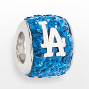 LogoArt Los Angeles Dodgers Sterling Silver Crystal Logo Bead - Made with Swarovski Elements