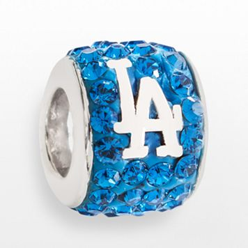 LogoArt Los Angeles Dodgers Sterling Silver Crystal Logo Bead - Made with Swarovski Crystals