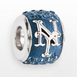 LogoArt New York Mets Sterling Silver Crystal Logo Bead - Made with Swarovski Crystals