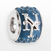 LogoArt New York Mets Sterling Silver Crystal Logo Bead - Made with Swarovski Elements