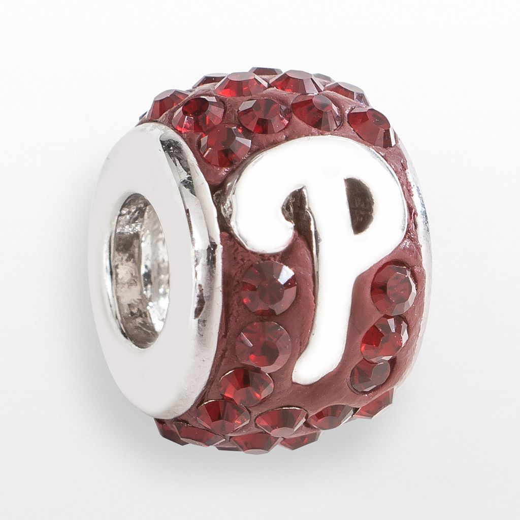LogoArt Philadelphia Phillies Sterling Silver Crystal Logo Bead - Made with Swarovski Crystals