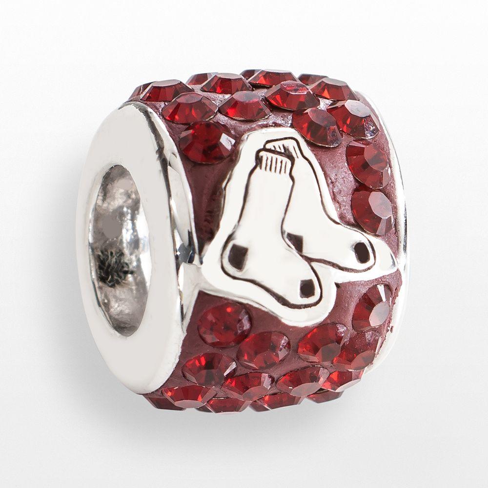 LogoArt Boston Red Sox Sterling Silver Crystal Logo Bead - Made with Swarovski Crystals