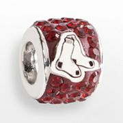 LogoArt Boston Red Sox Sterling Silver Crystal Logo Bead - Made with Swarovski Elements