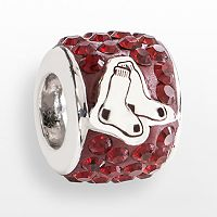 LogoArt Boston Red Sox Sterling Silver Crystal Logo Bead - Made with Swarovski Crystals