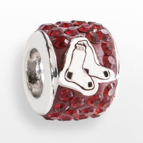 LogoArt Boston Red Sox Sterling Silver Crystal Logo Bead - Made with Swarovski Elements