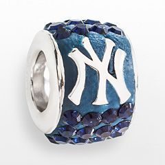 LogoArt New York Yankees Sterling Silver Crystal Logo Bead - Made with Swarovski Crystals