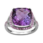 10k White Gold Amethyst, Lab-Created Pink Sapphire and Diamond Accent Frame Ring