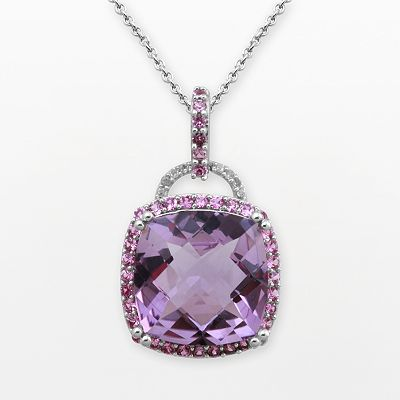 10k White Gold Amethyst, Lab-Created Pink Sapphire and Diamond Accent Frame Pendant