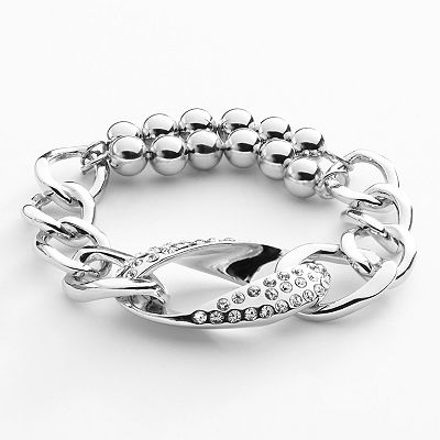 Apt. 9 Silver Tone Simulated Crystal Beaded Stretch Bracelet