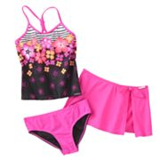 ZeroXposur Floral 3-pc. Tankini Swimsuit Set - Girls 7-16