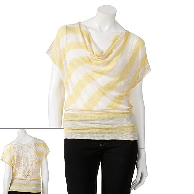 HeartSoul Striped Slubbed Dolman Top - Juniors