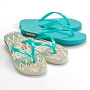 MUK LUKS 2-Pr. Paisley and Abstract Flip-Flops