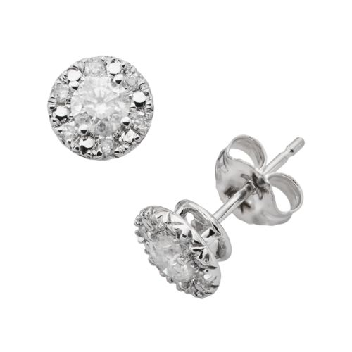 The HALO Collection 10k White Gold 1/2-ct. T.W. Round-Cut Diamond Halo Stud Earrings