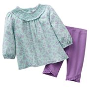 Chaps Floral Smocked Top and Leggings Set - Baby