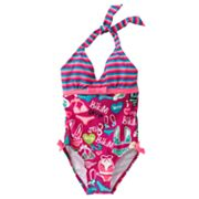 RayRay Bikini-Print Halter One-Piece Swimsuit - Girls