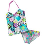 RayRay Floral 2-pc. Halter Tankini Swimsuit Set - Girls