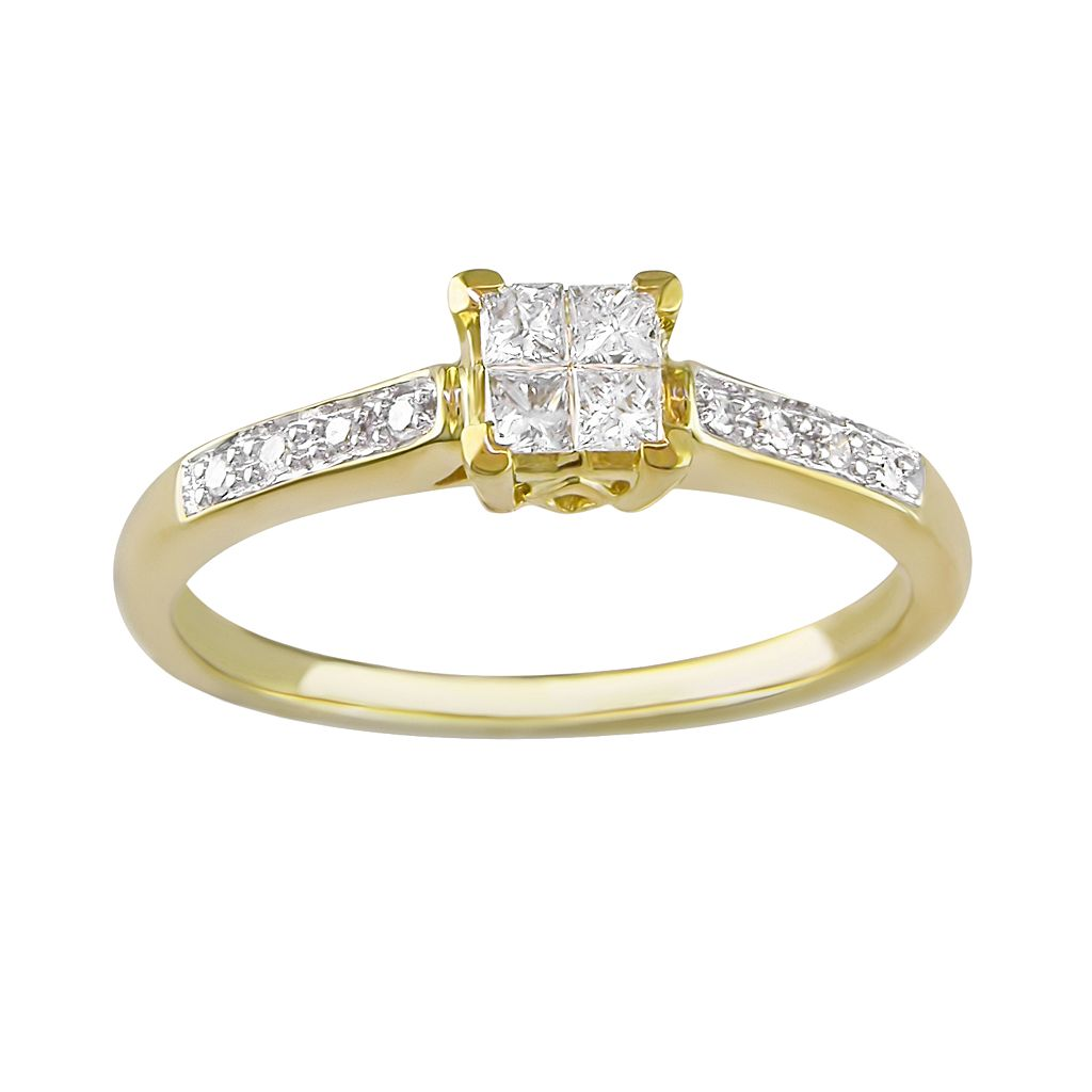 Princess-Cut Diamond Engagement Ring in 10k Gold (1/4 ct. T.W.)