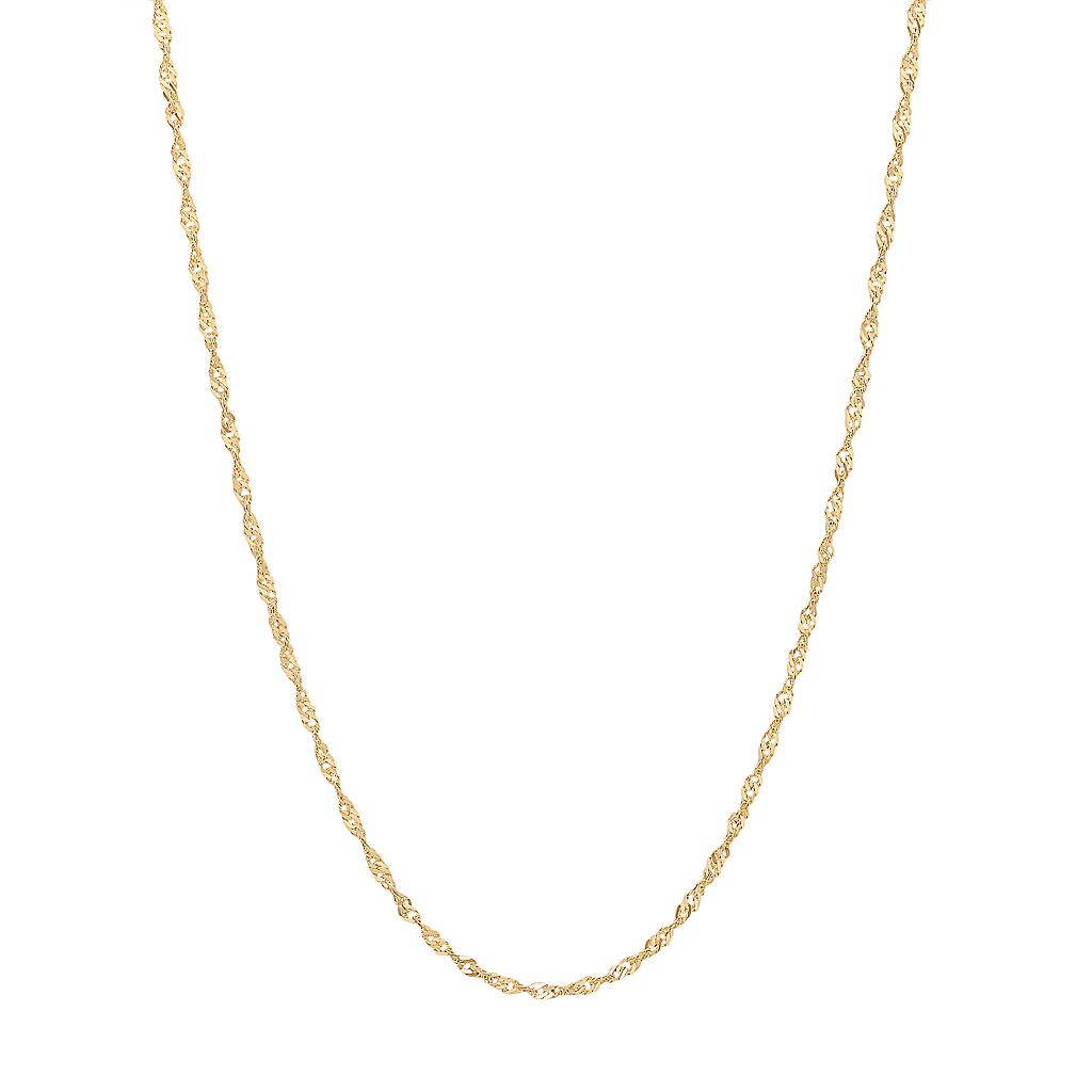 Everlasting Gold 14k Gold Sparkle Singapore Chain Necklace - 16-in.