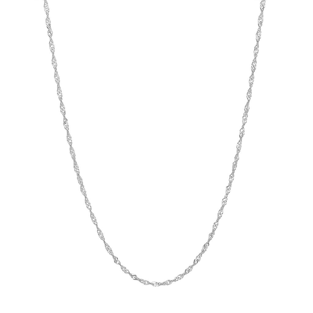 Everlasting Gold 14k White Gold Sparkle Singapore Chain Necklace - 24-in.
