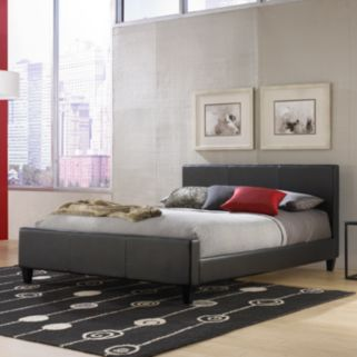 Euro Full Black Platform Bed