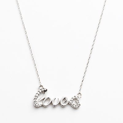 10k White Gold 1/10-ct. T.W. Diamond Love Necklace
