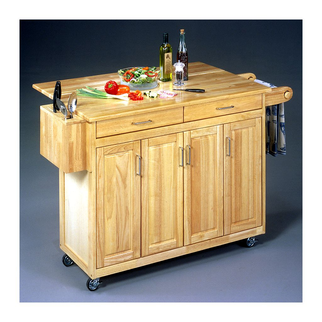 Wood-Top Kitchen Cart with Breakfast Bar