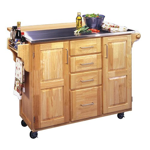 Stainless Steel Top Kitchen Cart with Breakfast Bar