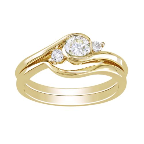 Round-Cut IGL Certified Diamond 3-Stone Swirl Engagement Ring Set in 10k Gold (1/2 ct. T.W.)