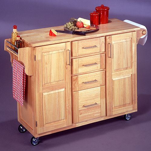 Natural Wood Kitchen Cart with Breakfast Bar