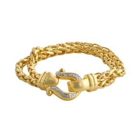 Elegante 18k Gold Over Brass Diamond Accent Buckle Spiga Chain Bracelet