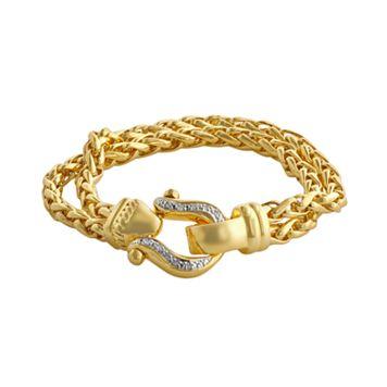 Elegante 18k Gold Over Brass Diamond Accent Buckle Spiga Chain Bracelet