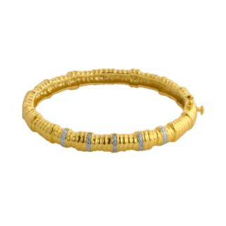 Elegante 18k Gold Over Brass Diamond Accent Textured Bangle Bracelet