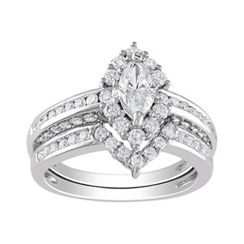 Marquise-Cut IGL Certified Diamond Engagement Ring Set in 14k White Gold (1 4/9 ct. T.W.)