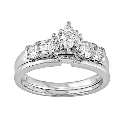 10k White Gold 1/2-ct. T.W. Marquise-Cut Diamond Ring Set