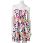 Kandy Kiss Floral Strapless Dress - Juniors