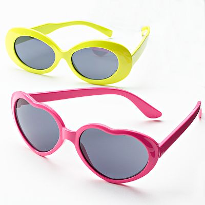 Jumping Beans 2-pk. Heart and Oval Neon Sunglasses - Girls