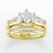 14k Gold 1-ct. T.W. IGL Certified Marquise-Cut Diamond Ring Set