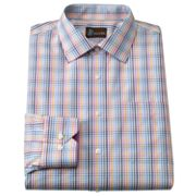 JT Oliver Classic-Fit Checked Spread-Collar Poplin Dress Shirt