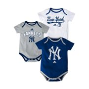 adidas New York Yankees 3-pk. Bodysuits - Baby